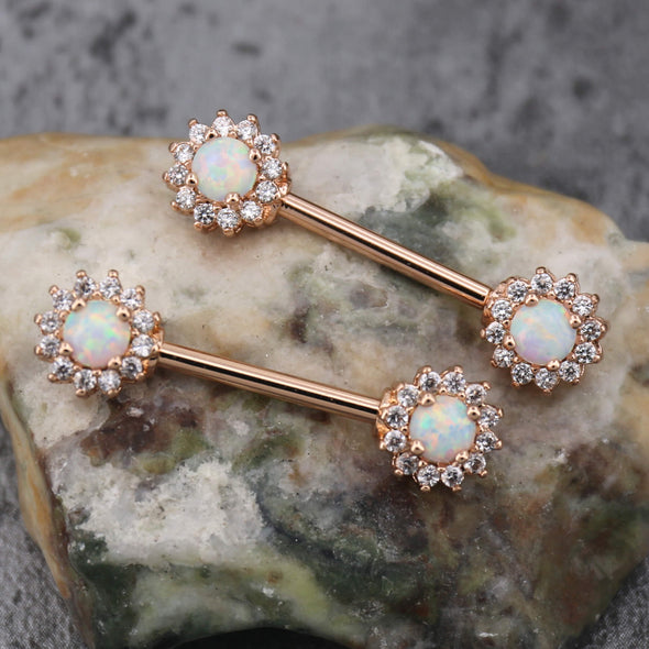 rose gold opal nipple jewelry