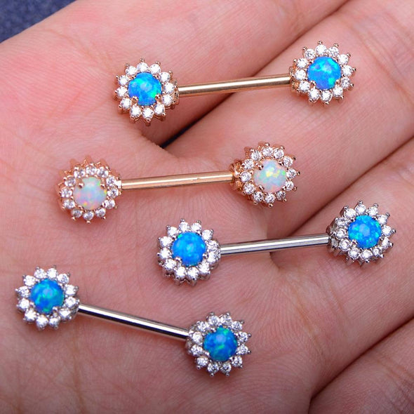 14G 316L Stainless Steel Barbell CZ Surrounded Opal Nipple Rings - OUFER BODY JEWELRY