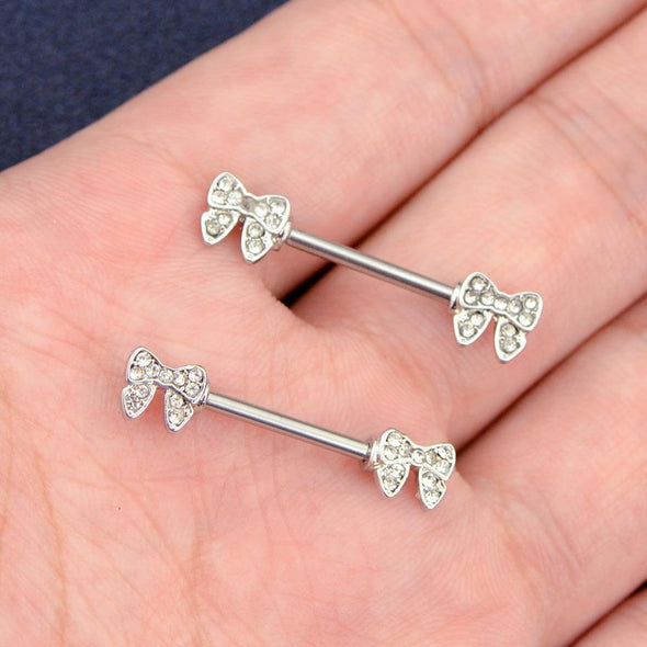 14G 316L Stainless Steel 2-Peice Bow Industrial Bar Nipple Ring - OUFER BODY JEWELRY