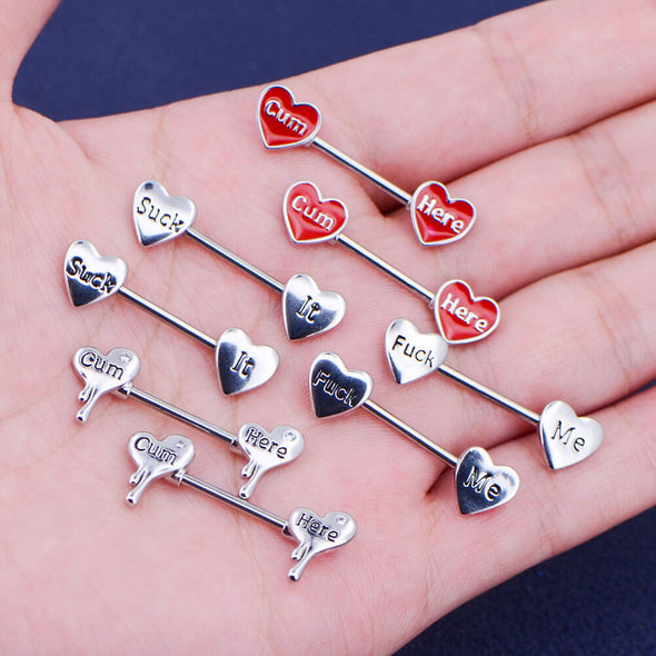 14G Red Heart Letter Nipple Barbell Rings Set of 2 - OUFER BODY JEWELRY