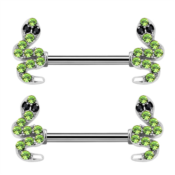 14G Surgical Steel Barbell Snake-Shaped Unique Nipple Ring - OUFER BODY JEWELRY