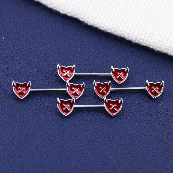 red heart nipple ring set