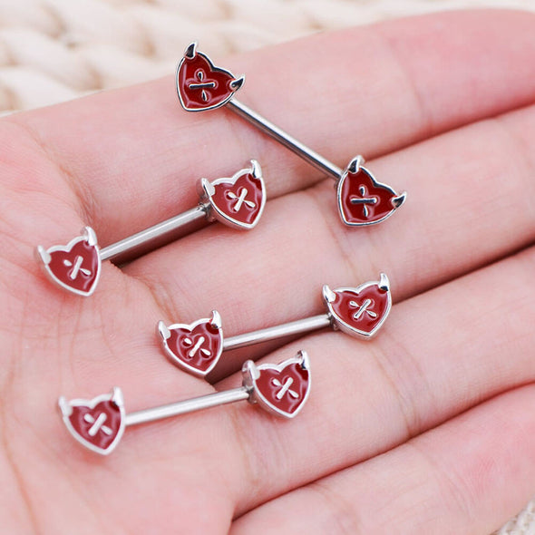 2PCS 14G Little Devil Red Heart Shaped Nipple Rings - OUFER BODY JEWELRY
