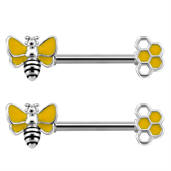 14G Bee Nipple Ring Stainless Steel Animal Nipple Barbell - OUFER BODY JEWELRY