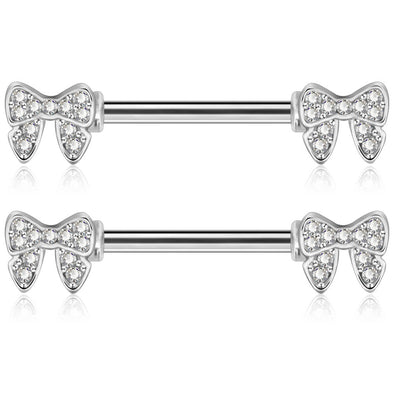 oufer cz bow nipple rings