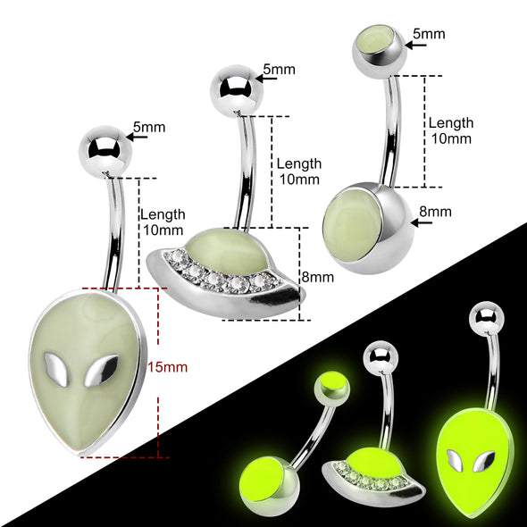3PCS Stainless Steel Alien Theme Glow in The Dark Belly Rings