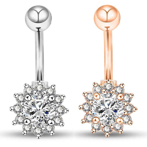 14G Rose Gold and Steel Color Petals Crystal Belly Button Rings - OUFER BODY JEWELRY