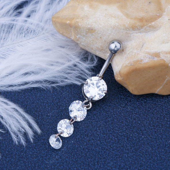 14G Surgical Steel Round Clear CZ Dangle Simple Belly Button Ring - OUFER BODY JEWELRY