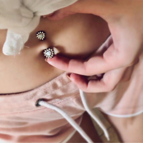 top heart belly ring