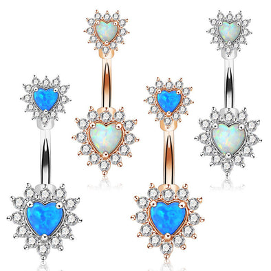 14G 316L Surgical Steel Double Heart Opal Belly Button Rings - OUFER BODY JEWELRY