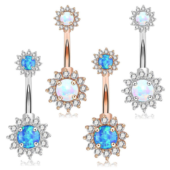 14G Surgical Steel Double Round Blue and White Opal Navel Rings - OUFER BODY JEWELRY