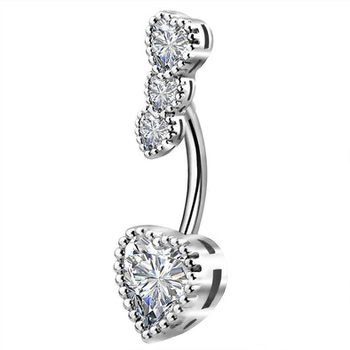 14G Four Heart Shaped Clear CZ Navel Ring - OUFER BODY JEWELRY