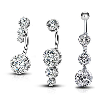 3PCS Clear CZ Belly Dangle Rings Belly Button Rings - OUFER BODY JEWELRY