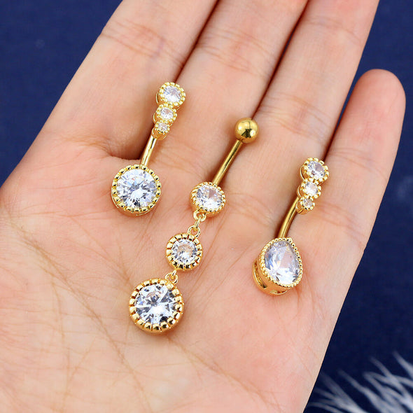 3PCS Clear CZ Water Droplets Dangle Belly Rings