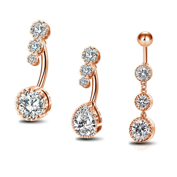 rose gold cz belly ring