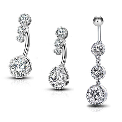 3PCS Clear CZ Water Droplets Dangle Belly Rings - OUFER BODY JEWELRY