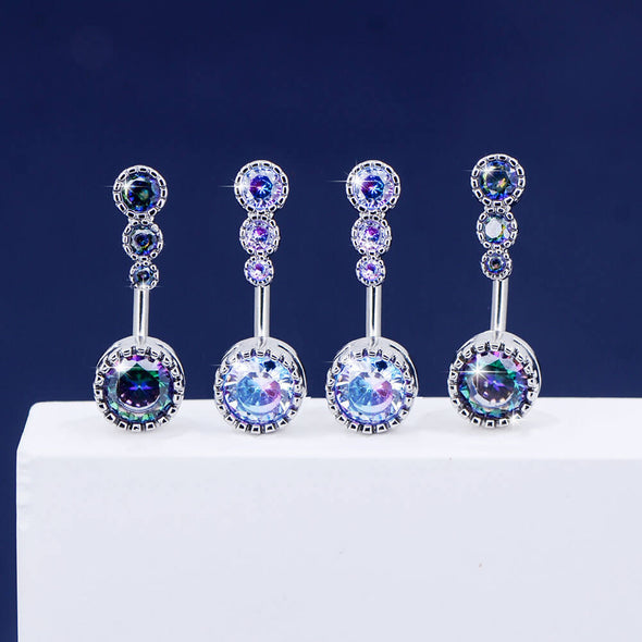 14G Four Round CZ Top and Bottom Belly Button Rings - OUFER BODY JEWELRY