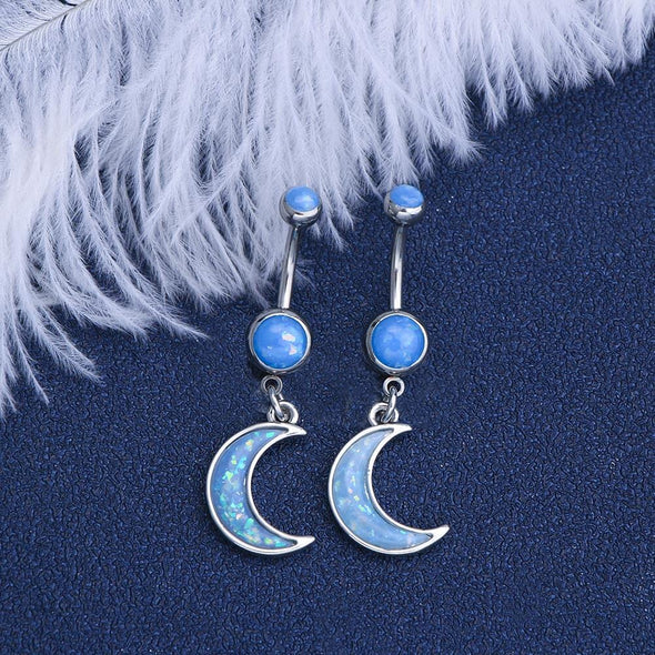 14G 316L Stainless Steel Blue Crescent Moon Belly Button Ring - OUFER BODY JEWELRY