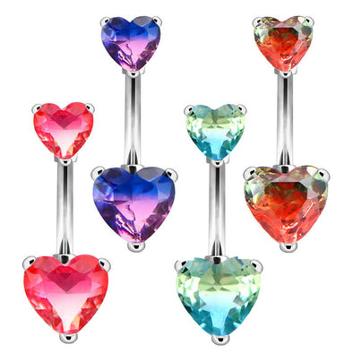 14G 3/8'' Surgical Steel Barbell Heart Gem Belly Button Rings - OUFER BODY JEWELRY