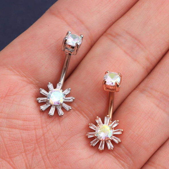 14G Surgical Steel Colorful CZ Gem Sun Belly Button Ring - OUFER BODY JEWELRY
