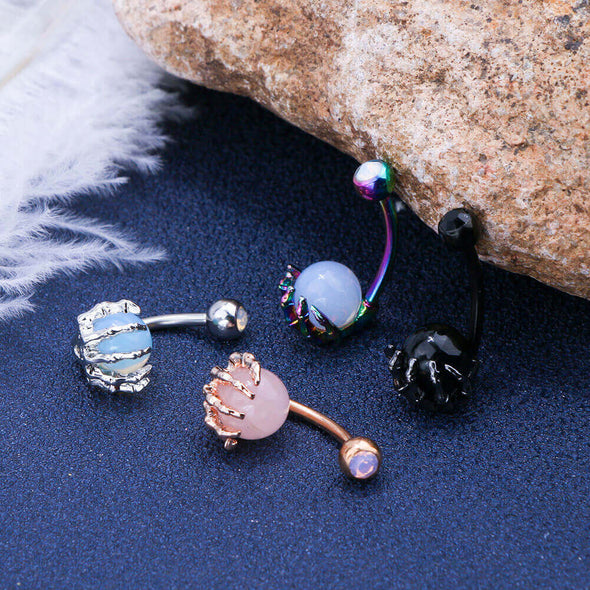 4 Colors Skull Hand Navel Rings Gem Ball Belly Button Rings Piercing - OUFER BODY JEWELRY
