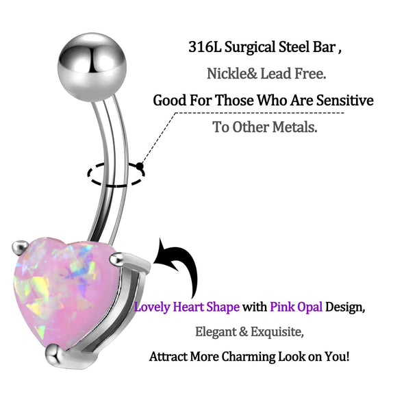 14 Gauge Heart Pink Synthetic Opal Belly Rings - OUFER BODY JEWELRY