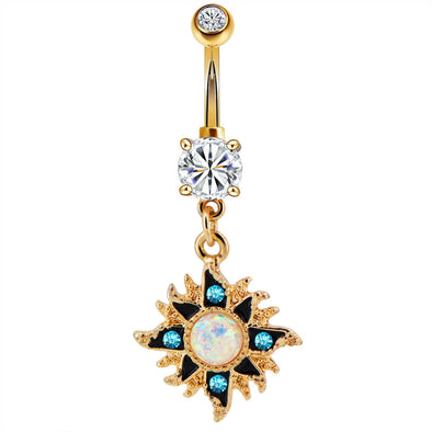 Opal Center Gold Sun Dangle Belly Button Ring 14G Clear CZ Navel Piercing