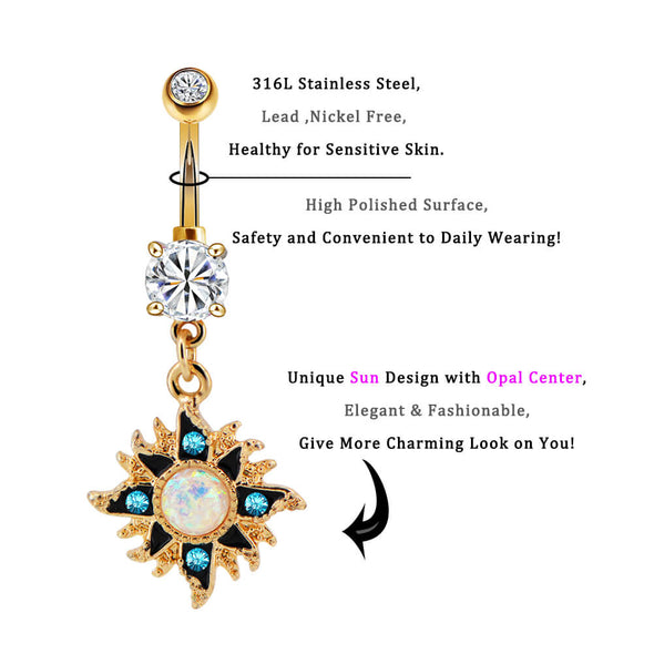 sun dangle belly rings