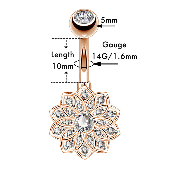 14G Rose Gold Clear CZCubic  Belly Button Rings Set 1 - OUFER BODY JEWELRY