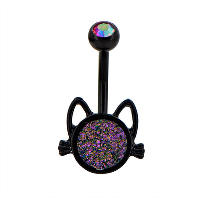 14G Cute Iridescent Druzy Stone Cat Black Belly Button Ring - OUFER BODY JEWELRY