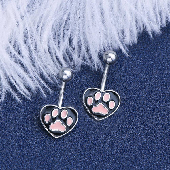 14G Black Heart Pink Cat's Paw Belly Button Ring Cute Belly Rings - OUFER BODY JEWELRY