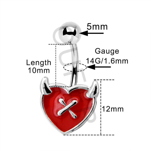 Red Heart Devil's Ear Body Jewelry Collection Set of 4 - OUFER BODY JEWELRY