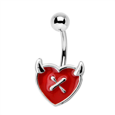 14G Red Heart Devil's Ear Funny Belly Button Ring - OUFER BODY JEWELRY