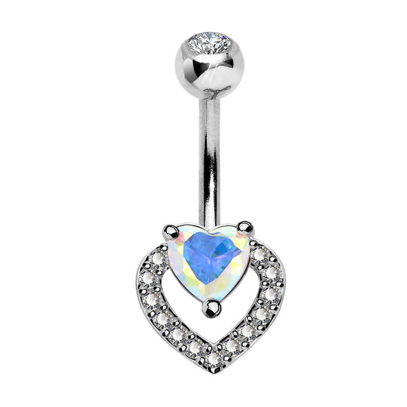 14G Colorful CZ Double Heart Belly Button Ring Navel Ring - OUFER BODY JEWELRY