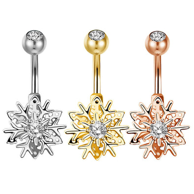 14G Top CZ Christmas Snowflake Belly Button Ring - OUFER BODY JEWELRY