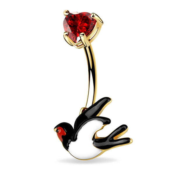 14G Swallow and Red Heart Belly Button Ring Navel Ring - OUFER BODY JEWELRY