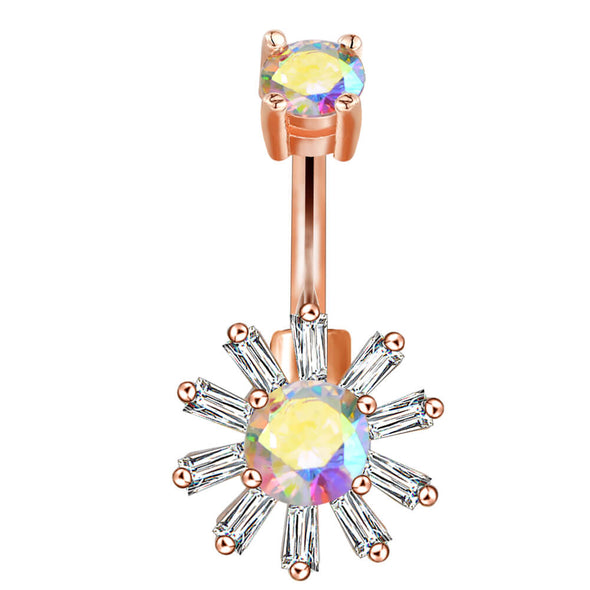 rose gold sun belly button ring
