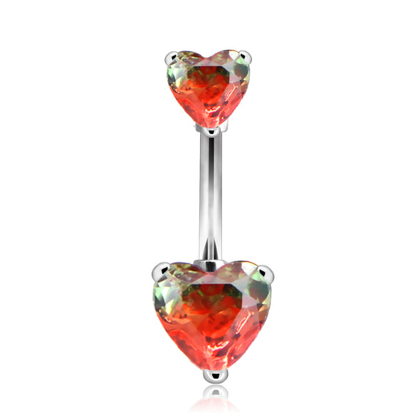 red gem heart belly button rings