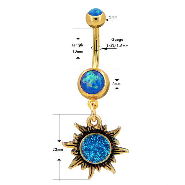14G 316L Surgical Steel Blue Opal Sunflower Belly Button Ring - OUFER BODY JEWELRY