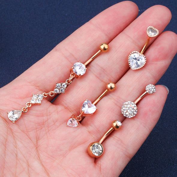 5Pcs 14G Rose Gold Curved Barbell Belly Button Ring Set 4 - OUFER BODY JEWELRY