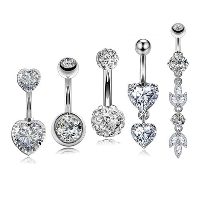 5PCS 14G Silver Stainless Steel Clear CZ Belly Rings Set 1