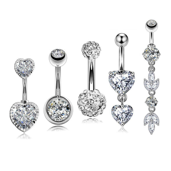 5Pcs 14G Crystal CZ Dangle and Stud Belly Rings Pack 1 - OUFER BODY JEWELRY