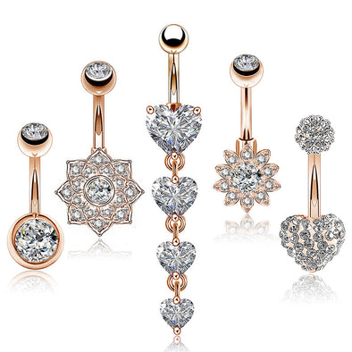 diamond belly button rings