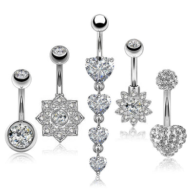 5PCS 14G Silver Stainless Steel Clear CZ Belly Rings Set 2 - OUFER BODY JEWELRY