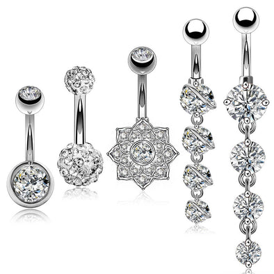 5Pcs Steel Barbell Studs and Dangle Belly Button Rings Set  4 - OUFER BODY JEWELRY