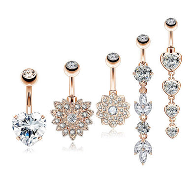 14G Rose Gold Clear CZCubic  Belly Button Rings Set 1