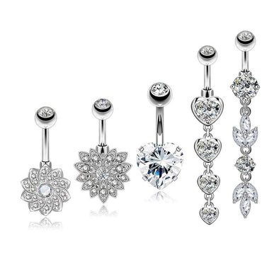5Pcs Steel Barbell Studs and Dangle Belly Button Rings Set 5 - OUFER BODY JEWELRY