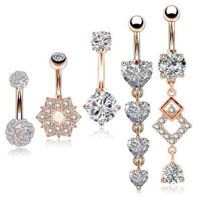 14G Rose Gold Stainless Steel Clear CZ Belly Button Rings Set 2 - OUFER BODY JEWELRY