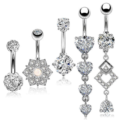 5Pcs Steel Barbell Studs and Dangle Belly Button Rings Set 3 - OUFER BODY JEWELRY