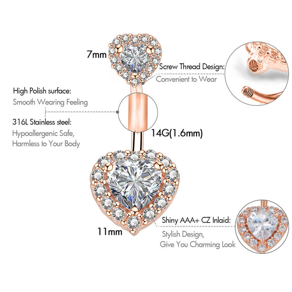 14G Double Heart Crystal CZ Silver and Rose Gold Belly Button Ring - OUFER BODY JEWELRY